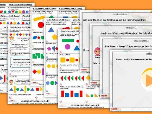 Year 2 Make Patterns with 2D Shapes Autumn Block 2 Step 7 Lesson Pack