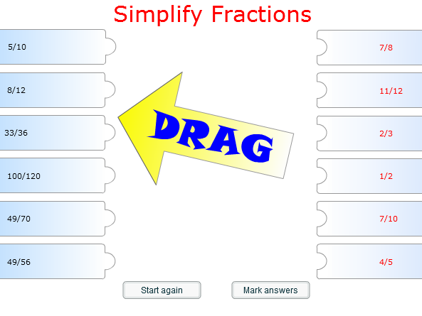 Starter/Plenary Game involving the Simplification of Fractions.