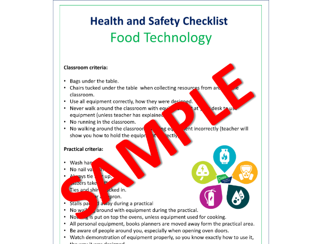 Health & Safety Checklist for Design & Technology