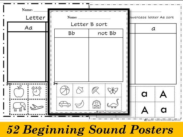 Alphabet Picture Sorting by Beginning Sounds - Cut and Paste | 52 Printable