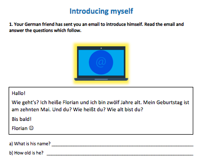 Key Stage 3 German – Me, my family and friends - New GCSE style activities