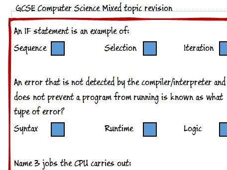 GCSE Computing / Computer Science Mixed Revision Topics Poster (OCR A451)