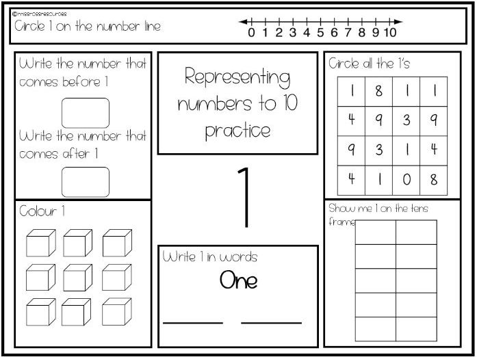 Representing numbers to 10