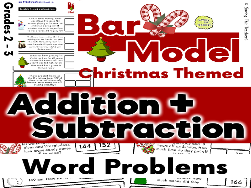 Christmas Addition and Subtraction Bar Model Word Problems - Years 3 and 4