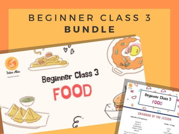 BUNDLE - English Beginner Lesson 3 - Food - ESL - TEFL - EFL
