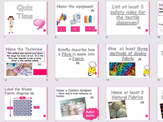 GCSE TEXTILES EXAM REVISION QUIZ - Printable student sheets - subject knowledge - WHOLE LESSON