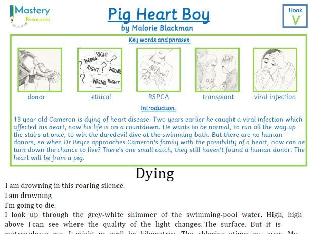 pig heart boy by malorie blackman comprehension ks2 by