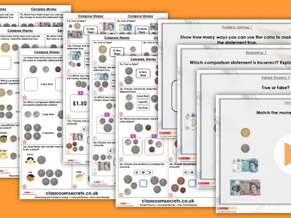 Year 2 Compare Money Autumn Block 3 Step 6 Lesson Pack