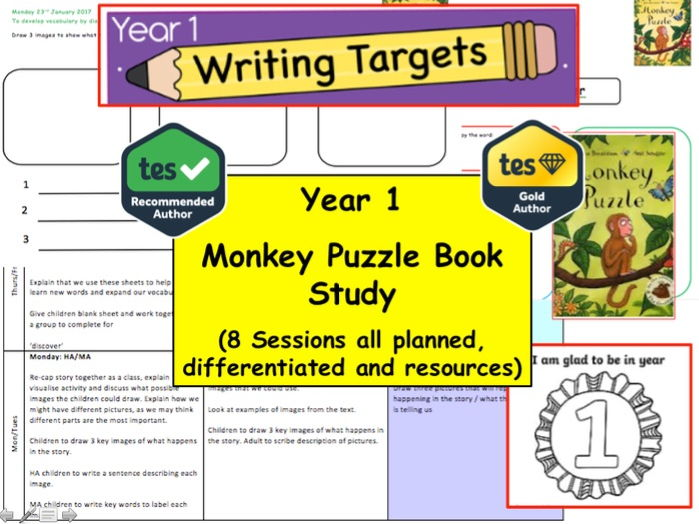 Year 1 / 2 Monkey Puzzle Book Study  Resource Pack  (English, Creative Writing, Fiction, literacy)