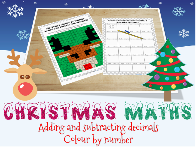 Christmas maths: Adding and subtracting decimals Colour by number