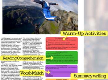Base Jumping - ESL Reading w/ FULL Lesson Plan