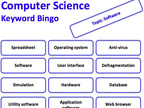 Computer Science keyword bingo game (Software)