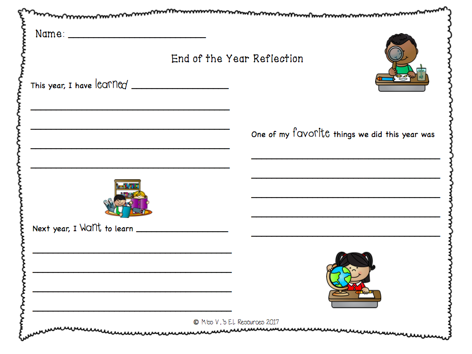 End of the Year Writing Reflection K-2