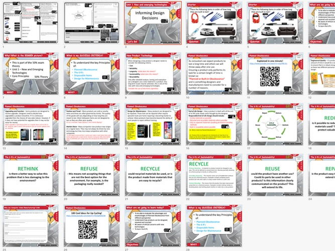GCSE DT 1 to 9 Theory: Informing Design Decisions & 6 R's -  teacher presentation student worksheets