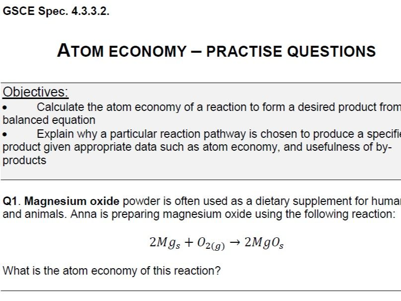 Atom Economy - practice questions (GSCE) - WORD version