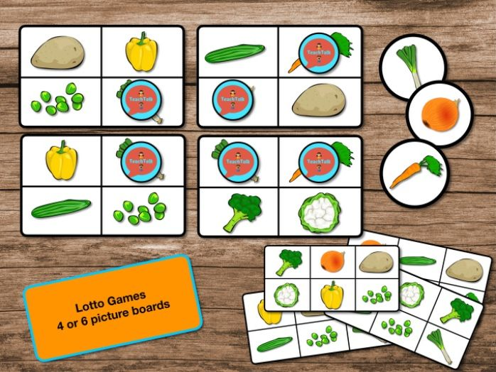Early Years printable Vegetable Matching, Lotto and Pairs Games. Great for vocabulary development!