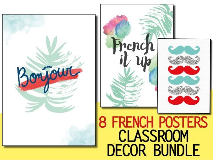 BUNDLE French classroom decor - 8 posters - Welcome door display Bienvenue