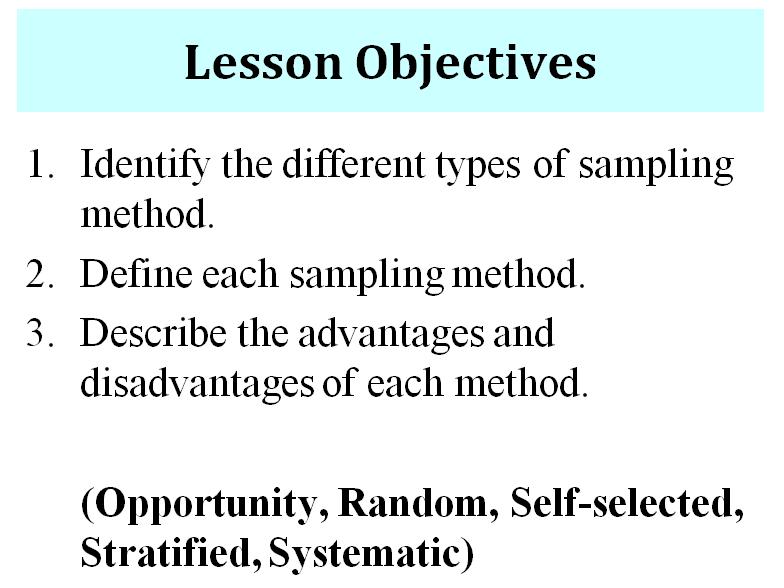 Sampling Method - Activity Sheet