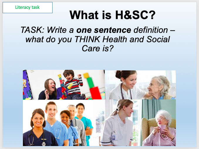 BTEC Tech Award Health and Social Care Two Introduction Lessons - What is HSC and portfolios