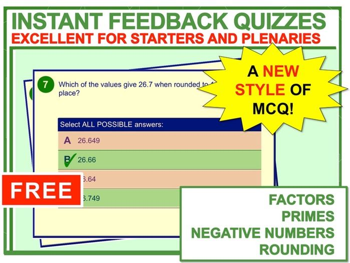 Instant Feedback Maths Quiz (Number 1)