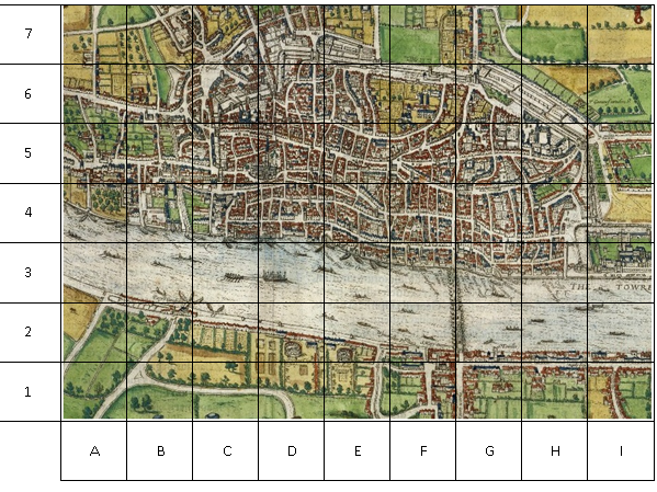 Map of London 1666 Great Fire of London grid work of main sites