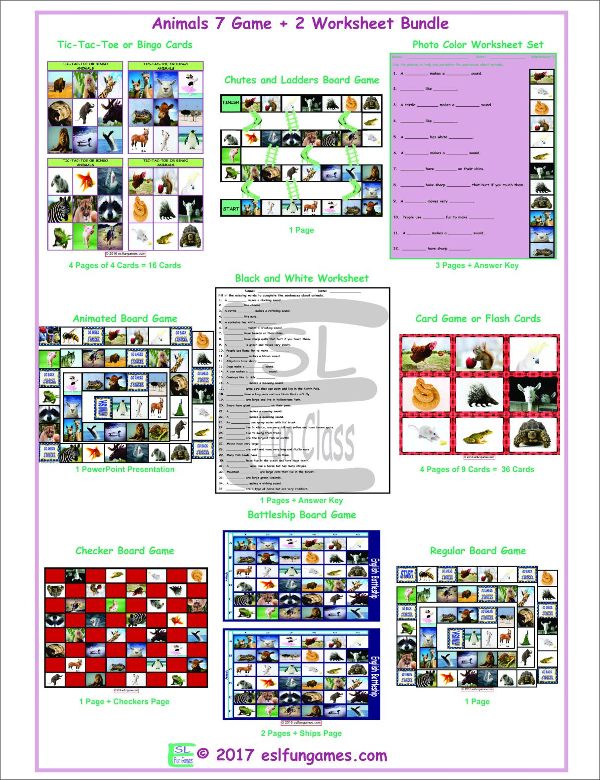 Animals 1 Page Bw Worksheet Teaching Resources