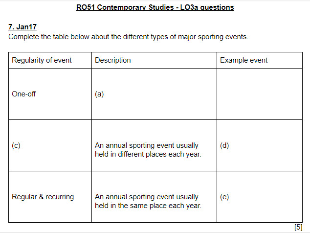 LO3a questions and answers - OCR Cambridge National Sports Studies RO51