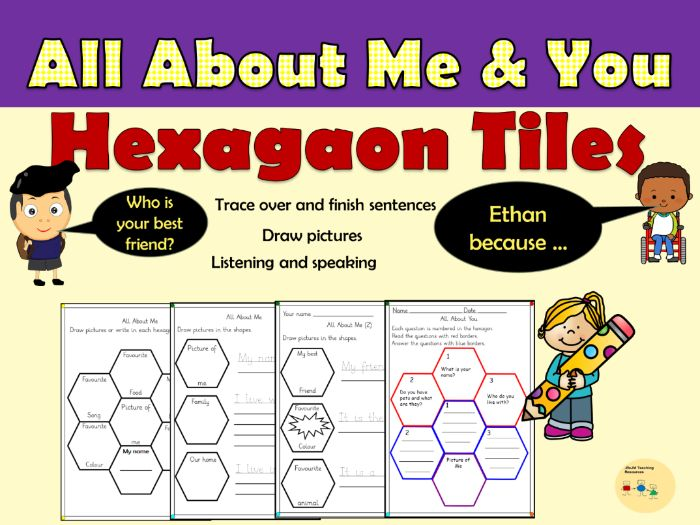 All About Me/You Questions in Hexagonal Tiles - Reception/Year 1/PreK/K