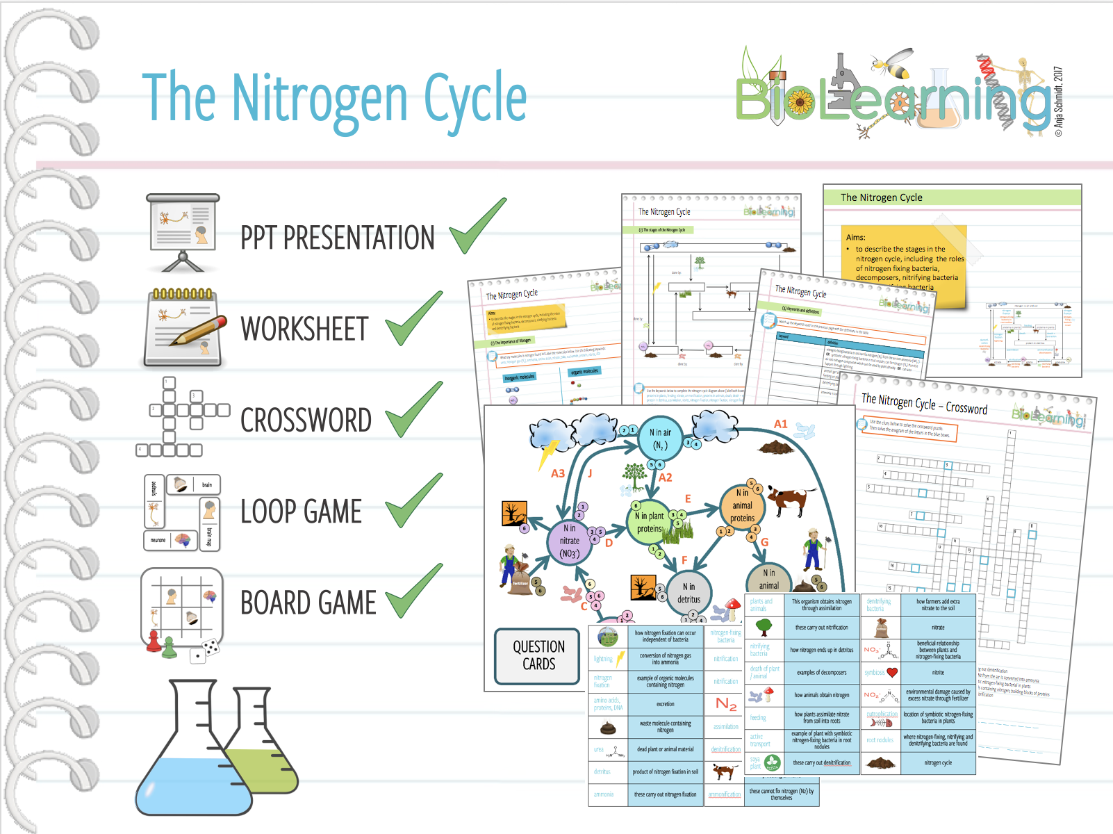 5x Nitrogen Cycle - Powerpoint PPT, Worksheet,  Loop Game, Crossword and Board Game (KS4)