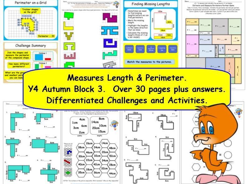 Measures Length & Perimeter Y4 Autumn Block 3 KS2 Challenges inc perimeters & kilometres