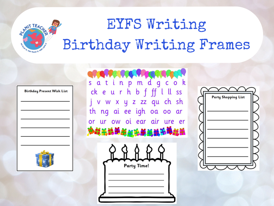 Birthday writing frames eyfs phase 23 phonics by planitteacher cover image stopboris Choice Image