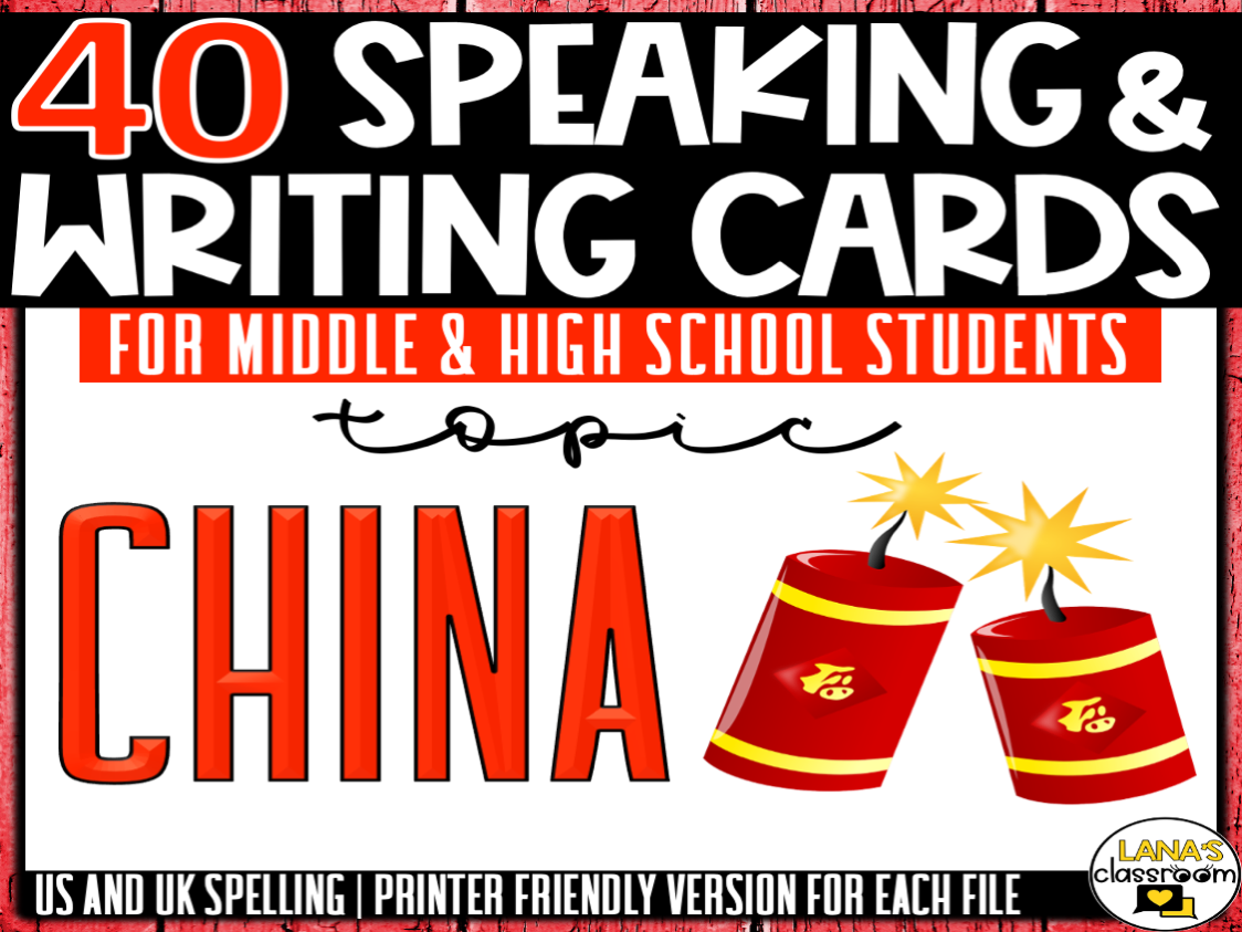 China   ESL/ELL/ELA Speaking and Writing Activities   For Teens   BUNDLE