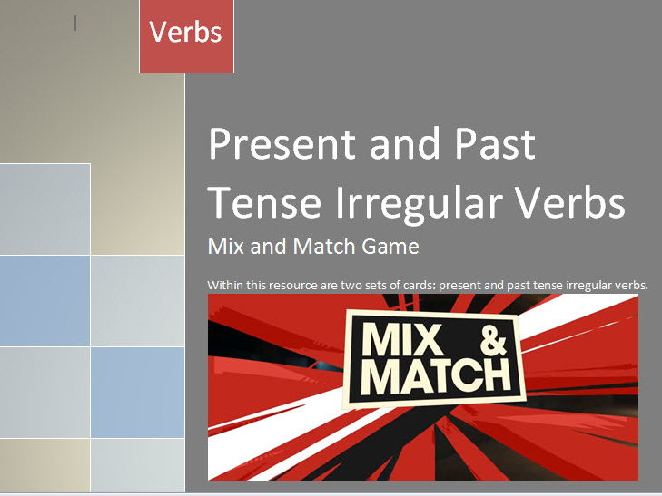 Present and Past Tense Irregular Verb game with Answer Key