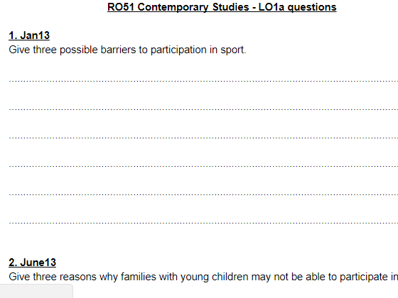 LO1a questions and answers - OCR Cambridge Nationals Sports Studies RO51