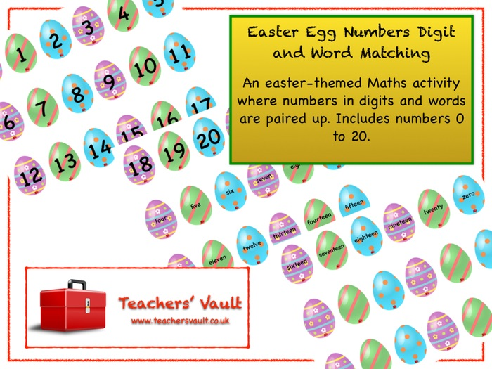Easter Egg Numbers Digit and Word Matching