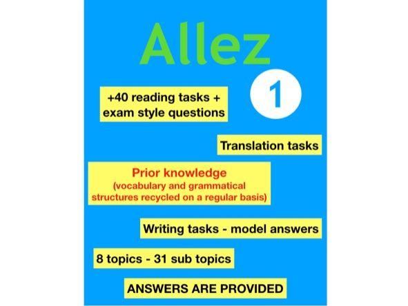 KS3 - French - reading and writing activities (Allez 1 textbook)