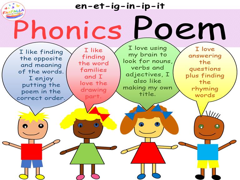 Poem Activities - Word family en-et-ig-in-ip-it - Vocabulary - Grammar