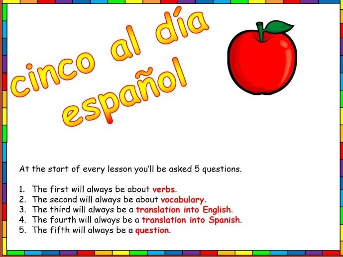Spanish 5 a day questions