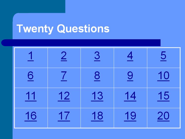 Twenty Questions Quiz Template
