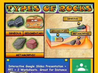 Different types of rocks: Google Slides, Distance Learning + 2 Worksheets