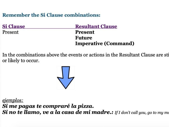 Si Clause Worksheet (Spanish)