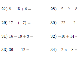 Negative numbers worksheets (with solutions)