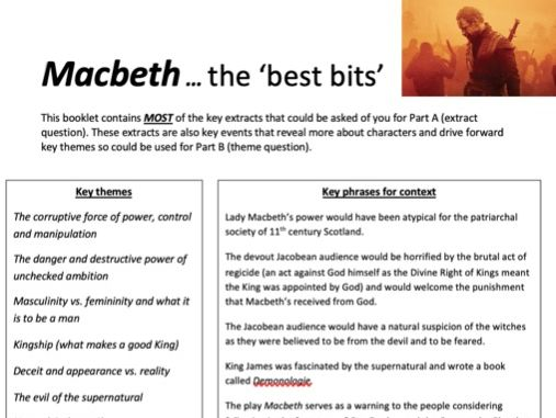 Macbeth 'best bits' booklet.