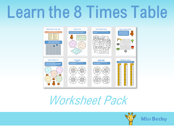 8 Times Table Worksheet Pack