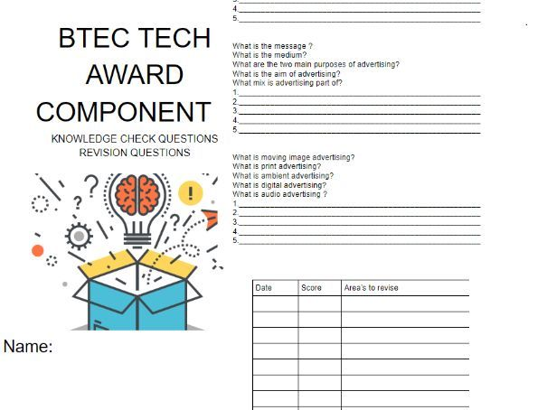 Component 3 Promotion and Finance Revision Questions BTEC TECH AWARD ENTERPRISE LEVEL 2