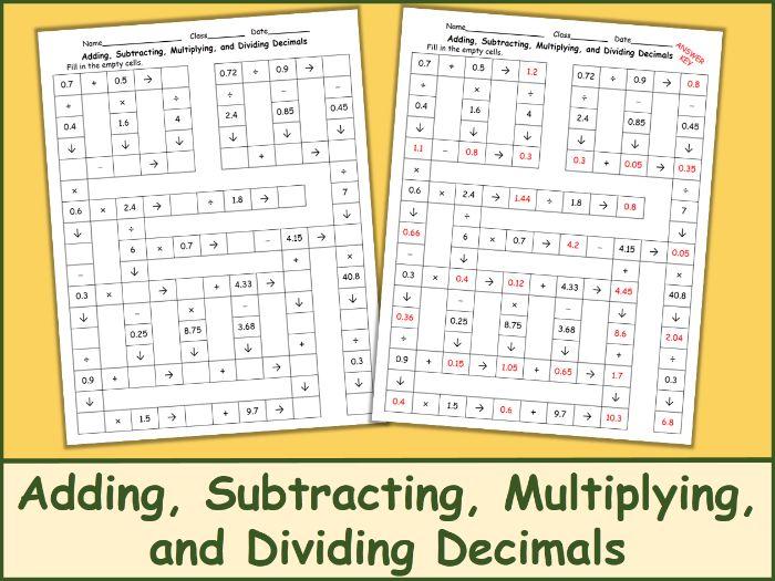 Adding, Subtracting, Multiplying, and Dividing Decimals Crossword Puzzle