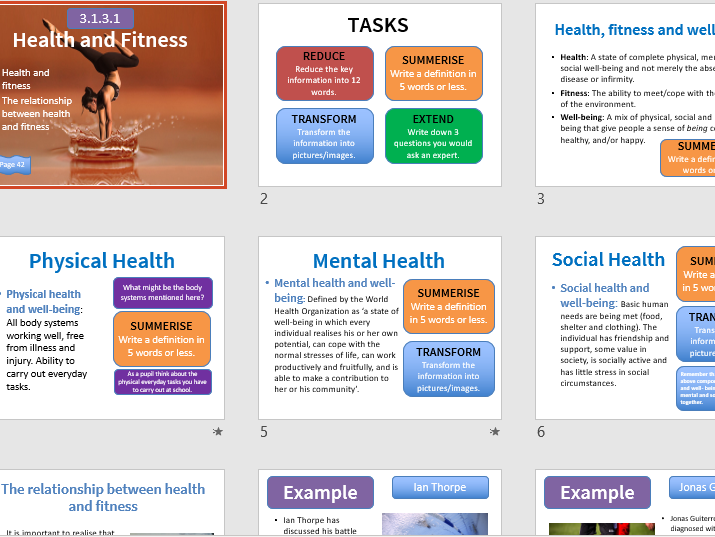 The relationship between health and fitness GCSE PE