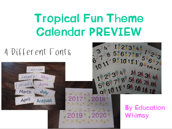 Tropical Fun Theme Calendar Set