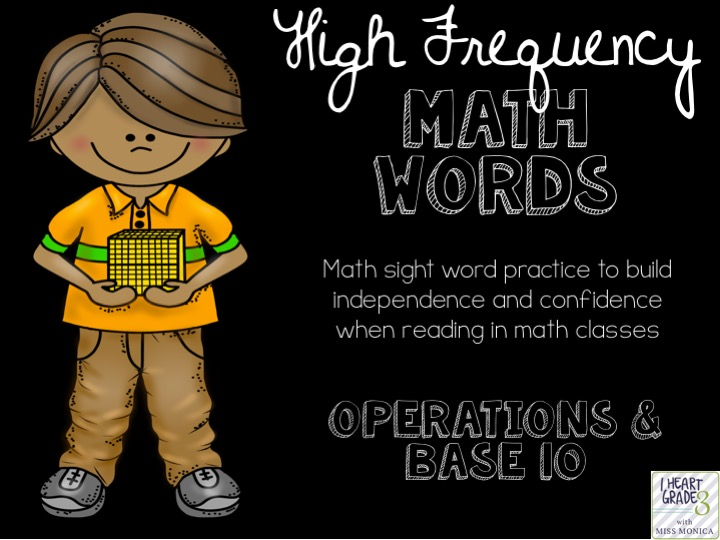 High Frequency Math Words for Operations & Base 10