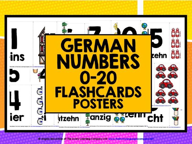 GERMAN NUMBERS 1-20 FLASHCARDS POSTERS